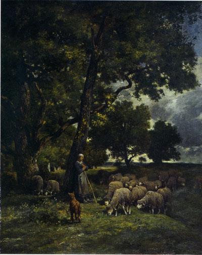 「羊飼いの女と羊の群」