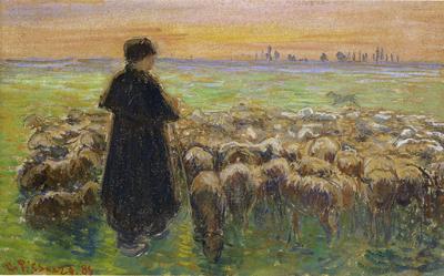 「「羊飼いと羊の群れ」