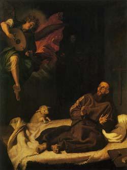 フランシスコ・リバルタ 「奏楽の天使に慰められる聖フランチェスコ」