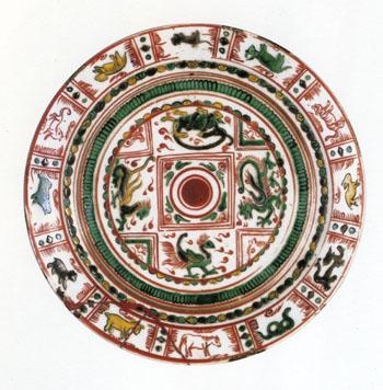 赤絵十二支四神鏡文皿