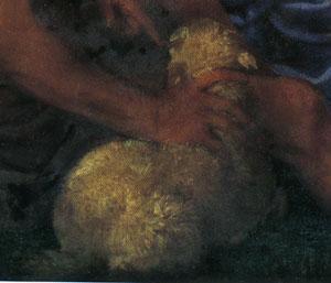 「聖母子と洗礼者ヨハネと寄進者」(部分)
