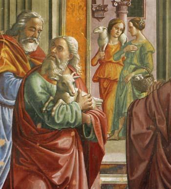 「神殿から追い出されるヨアキム」(部分)