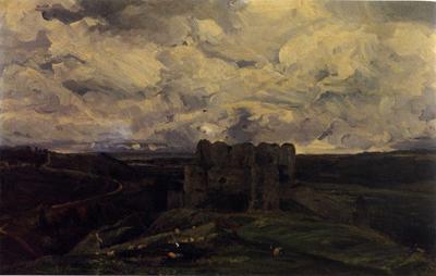 「アルク・ラ・バタイユの城のある風景」