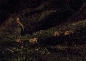 「アルク・ラ・バタイユの城のある風景」(部分)