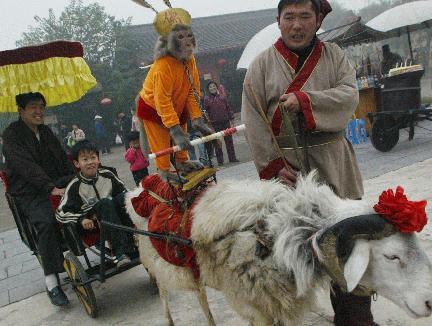 サルが羊の車に急ぐ