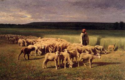 「草原の羊飼いの少女と羊の群れ」