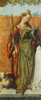 聖アグネス、聖バルトロマイ、聖セシリア(部分)