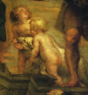 「聖母子と諸聖人」(部分)