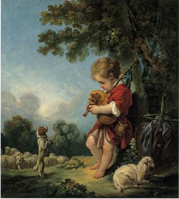 「バグパイプを吹く羊飼いの少年」