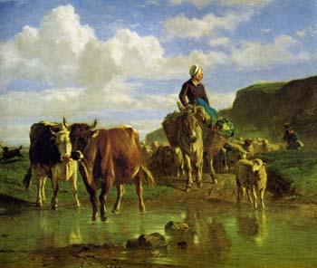 コンスタン・トロワイヨン「水を渡る牛」