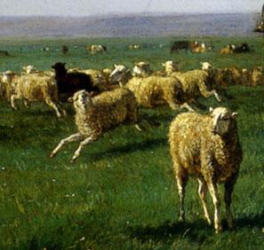「牧場の牛と羊の群」(部分)