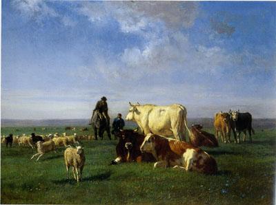 「牧場の牛と羊の群」