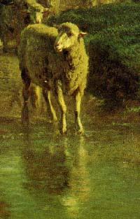 「水を渡る牛(部分)」