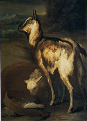 「風景の中の山羊と羊」