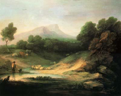「羊飼いのいる山の風景」