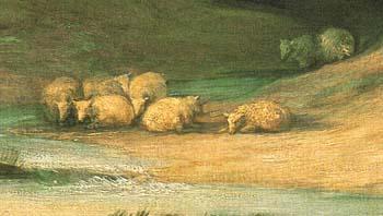「羊飼いのいる山の風景」(部分)