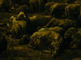 「夜明けの羊舎」(部分)