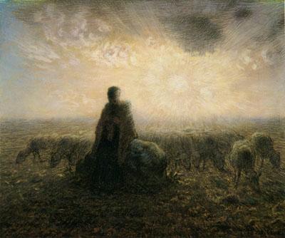「夕映えの中の羊飼いの女と羊」