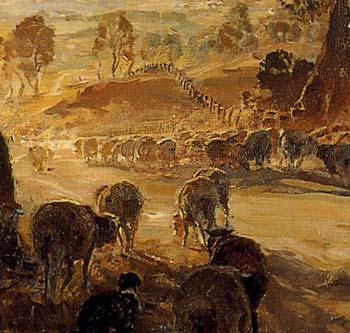 「夕陽の方へ羊を追って」(部分)